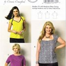 Butterick Sewing Pattern 5863 Womens Plus Size 18W-44W Easy Pullover Knit Tops Neckline Options
