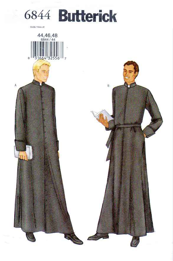 """Butterick Sewing Pattern 6844 Mens Chest Size 44-46-48"""" Priest's Cassock Robe Vestments"""