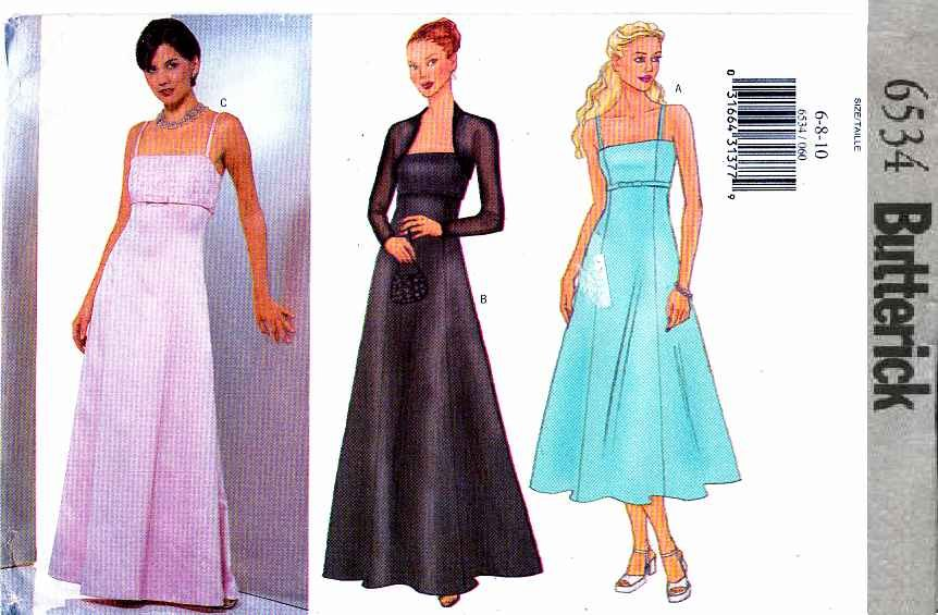 Butterick Sewing Pattern 6534 Misses Size 6-8-10 Easy Prom Evening Gown Formal Dress Shrug