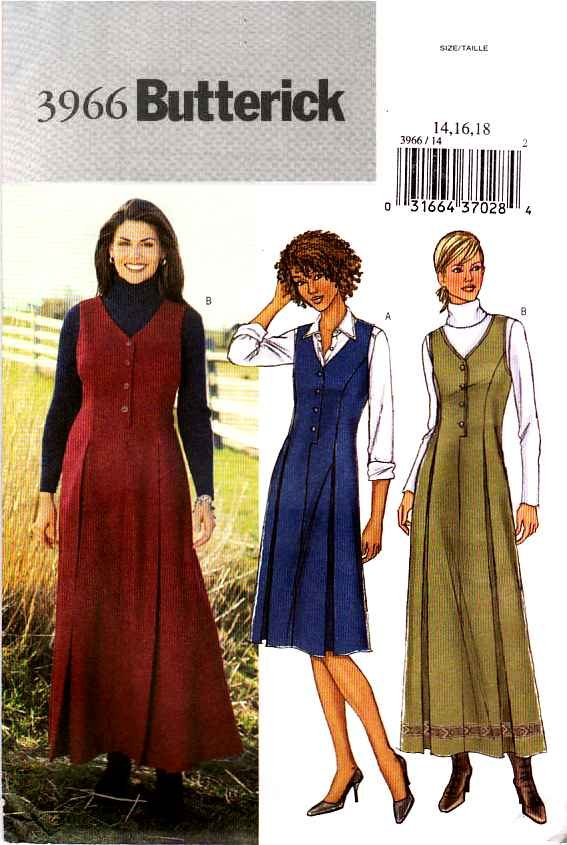 Butterick Sewing Pattern 3966 Misses Size 14-16-18 Easy Short Long Jumpers