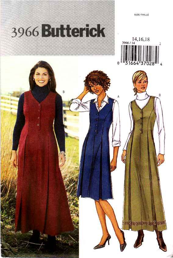 Butterick Sewing Pattern 3966 Misses Size 8-10-12 Easy Short Long Jumpers