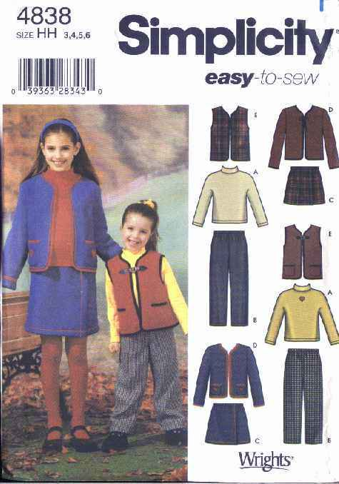 Simplicity Sewing Pattern 4838 Girls Size 7-14 Easy Wardrobe Skirt Jacket Top Pants Vest