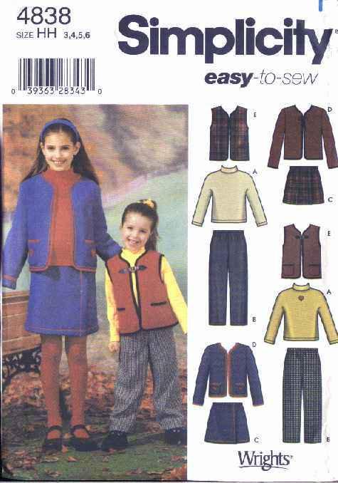 Simplicity Sewing Pattern 4838 Girls Size 3-4-5-6 Easy Wardrobe Skirt Jacket Top Vest Pants