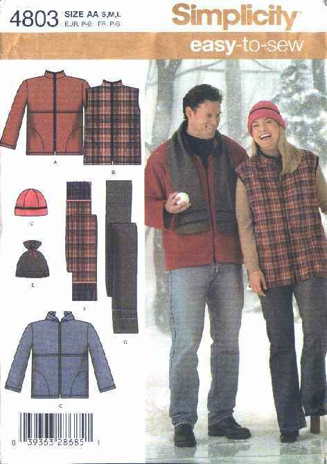 "Simplicity Sewing Pattern 4803 Womens Mens Chest Size 40-50""  Easy Hooded Jacket Vest Hat Scarf"