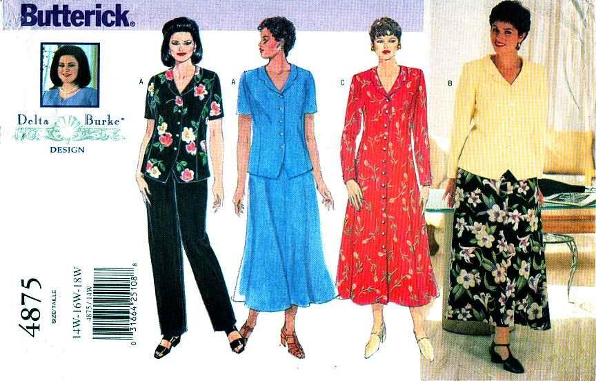 Butterick Sewing Pattern 4875 Womens Plus Size 14w 18w