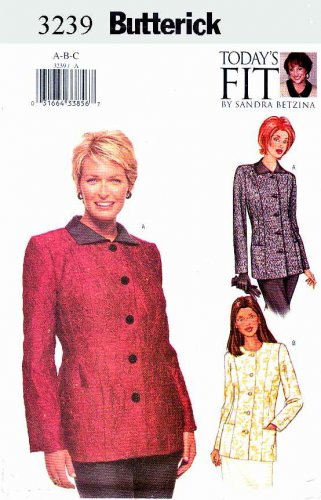 Butterick Sewing Pattern 3239 Misses Size 10-14 Front Button Lined Princess Seam Jacket