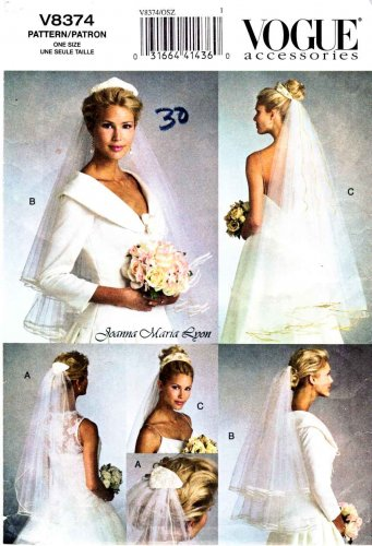 Vogue Sewing Pattern 8374 V8374 Misses Bridal Veils One Size Fits All Variety Of Lengths and Styles