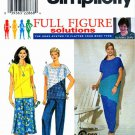Simplicity Sewing Pattern 8648 Women's Plus Size 18W-24W Pullover Top Skirt Pants