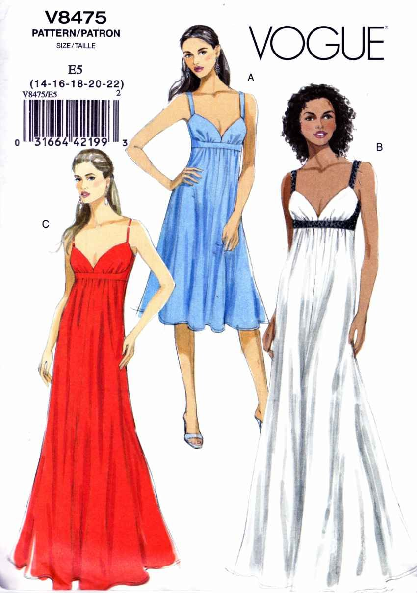 Vogue Sewing Pattern 8475 Misses Sizes 14 22 Easy Empire