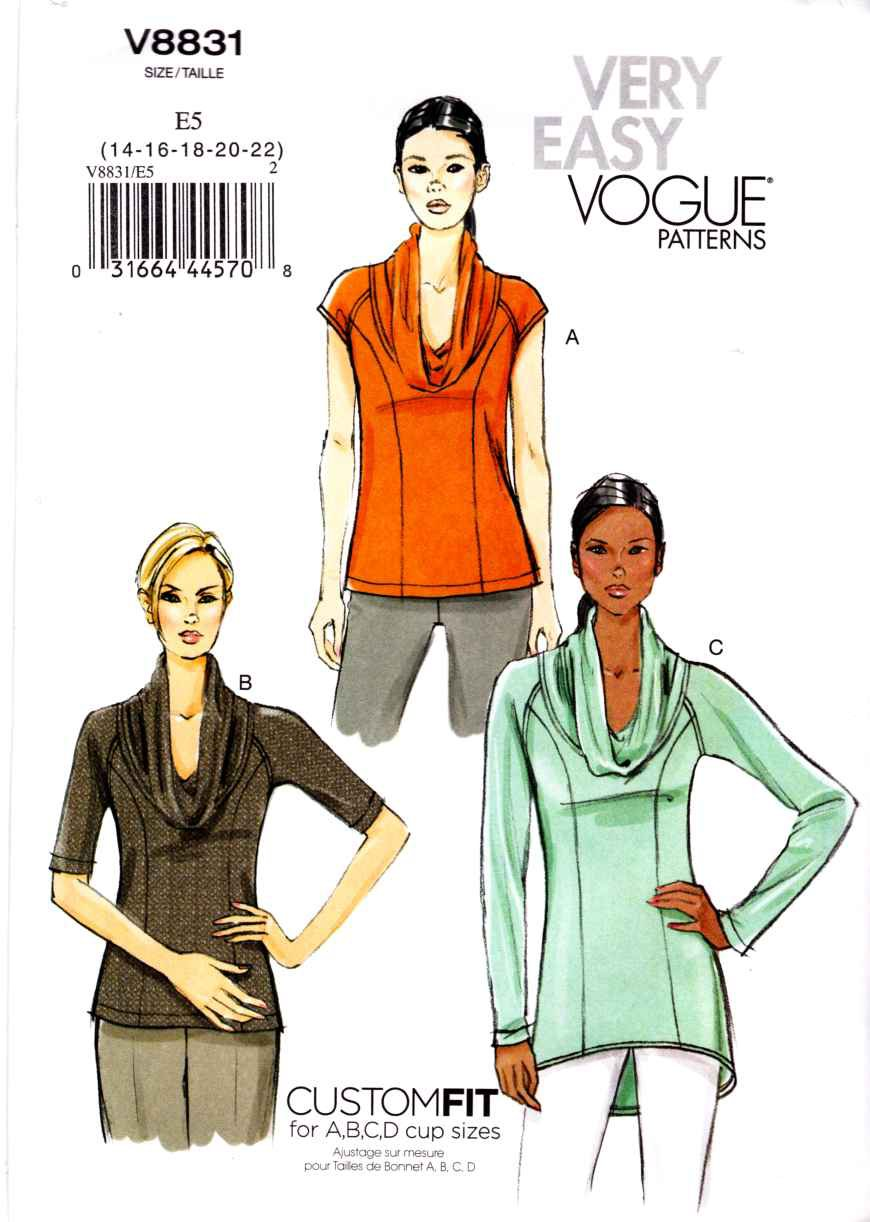 Vogue Sewing Pattern 8831 Misses Sizes 14-22 Easy Pullover Knit Top Tunic Sleeve Options