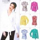 Vogue Sewing Pattern 8833 Misses Sizes 16-24 Wrap Front Tie Blouse Shirt Sleeve Options