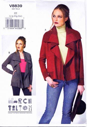 Vogue Sewing Pattern 8839 Misses Sizes 16-26 Easy Marci Tilton Reversible Long Sleeve Jacket
