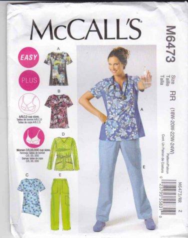 McCalls Sewing Pattern 6473 Easy Women's Plus Size 18W-24W Scrub Uniform Tops Pants