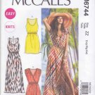 McCalls Sewing Pattern 6744 Misses Sizes 16-26 Easy Knit Pullover Sleeveless Summer Dresses