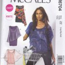 McCalls Sewing Pattern 6704 Misses Sizes 16-26 Easy Knit Pullover Tops Dresses Overlay