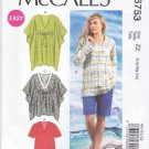 McCalls Sewing Pattern 6753 Misses Sizes 16-26 Easy Loose Fitting Pullover Tops Tunic