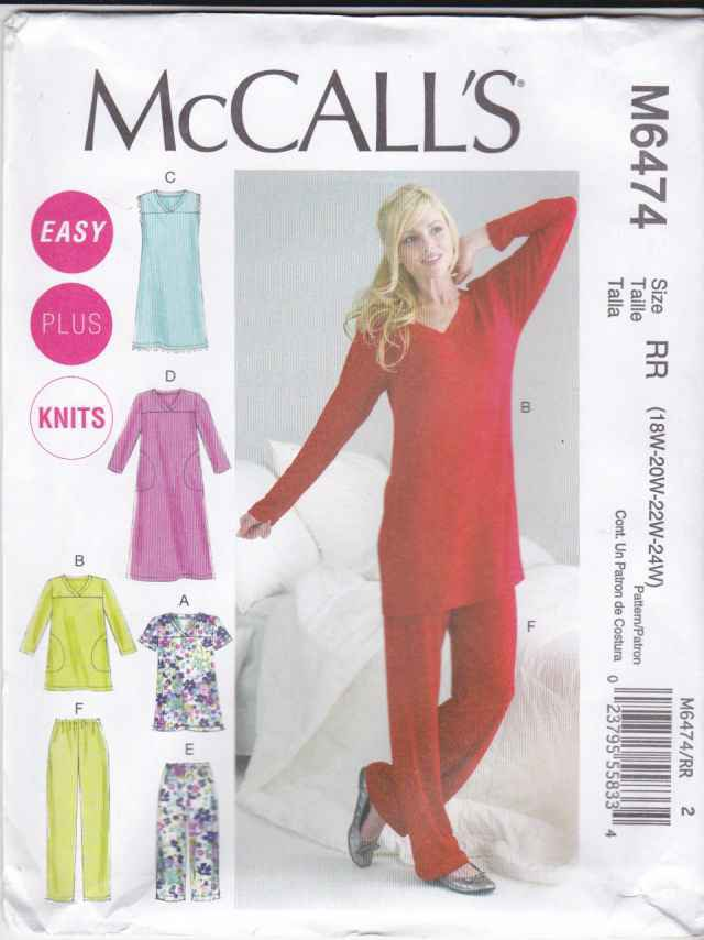 Mccalls Sewing Pattern 6474 Womens Plus Sizes 18w 24w Easy