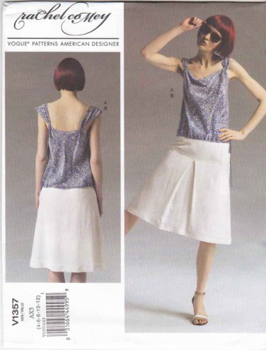Vogue Sewing Pattern 1357 Misses Sizes 4-12 Easy Rachel Comey Summer Top Skirt