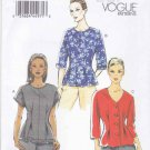 Vogue Sewing Pattern 8906 Misses Sizes 16-24 Easy Pullover Button Front Tops
