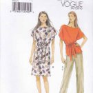 Vogue Sewing Pattern 8915 V8915 Misses Sizes 4-14 Easy Pullover Dress Top Pants Belt