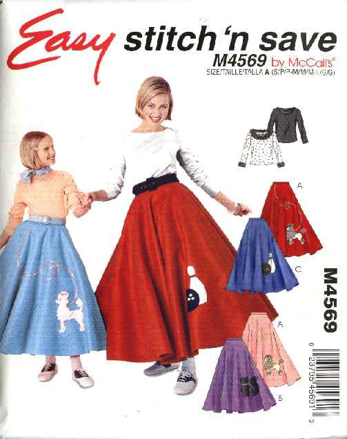 McCall�s Sewing Pattern 4569 Girls Size 7-16 Easy Poodle Skirt Pullover Long Sleeve Top Costume