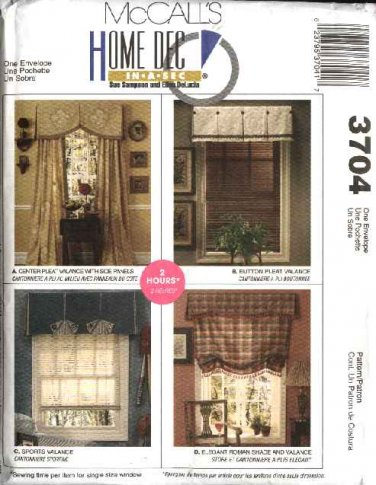 McCall's Sewing Pattern 3704 Window Treatments Valence Curtains Side Panels Roman Shade