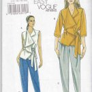 Vogue Sewing Pattern 8657 Misses Size 6-12 Easy Front Wrap Top Belt Tapered Pants