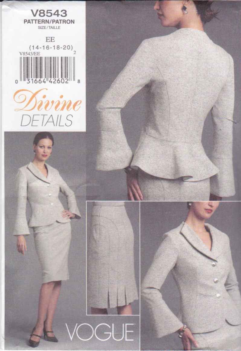 Vogue Sewing Pattern 8543 Misses Size 14-20 Lined Jacket Peplum Straight Skirt Divine Details Suit