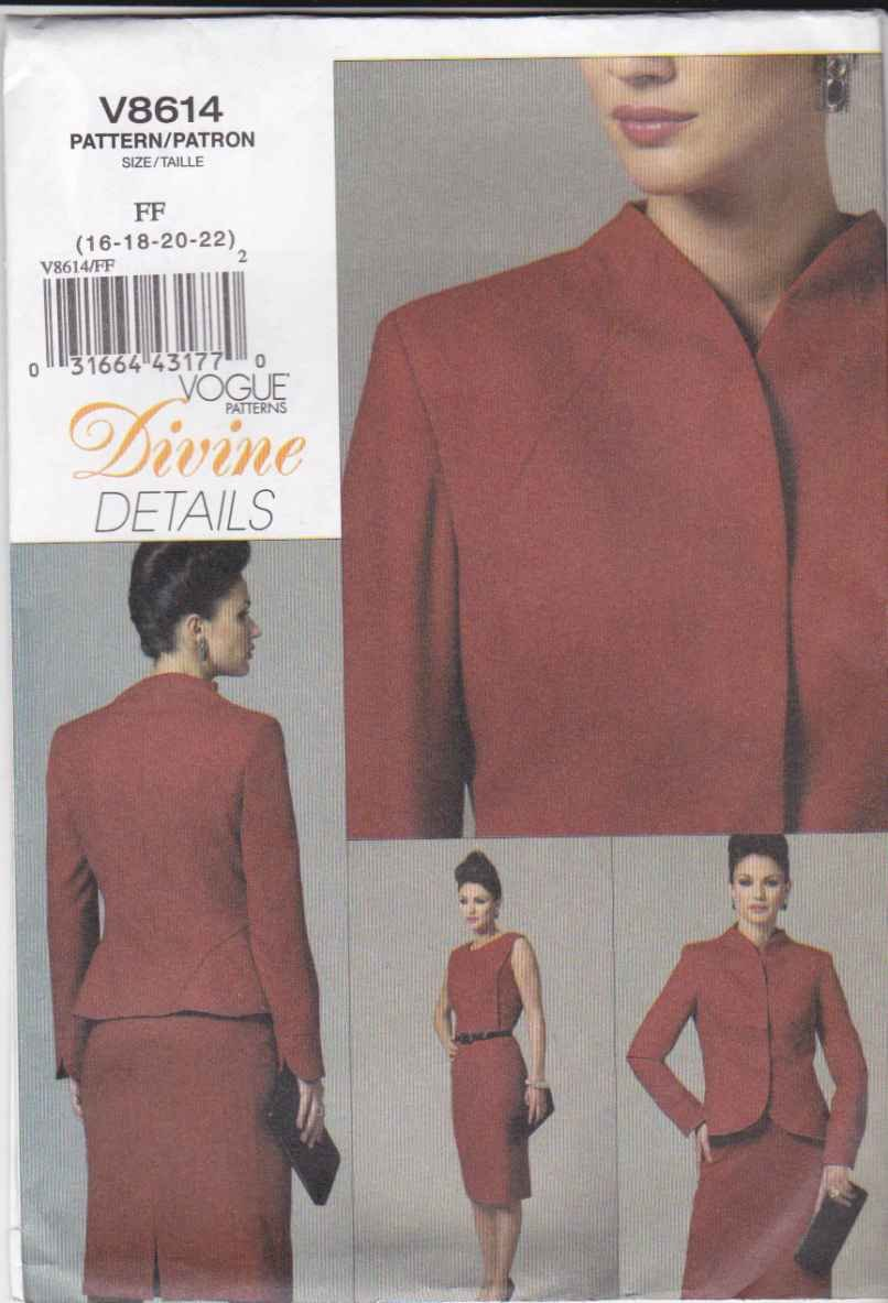 Vogue Sewing Pattern 8614 Misses Size 16-22 Lined Jacket Straight Sleeveless Dress