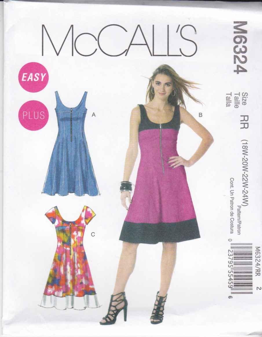 mccall s sewing pattern 6324 woman s plus sizes 18w 24w