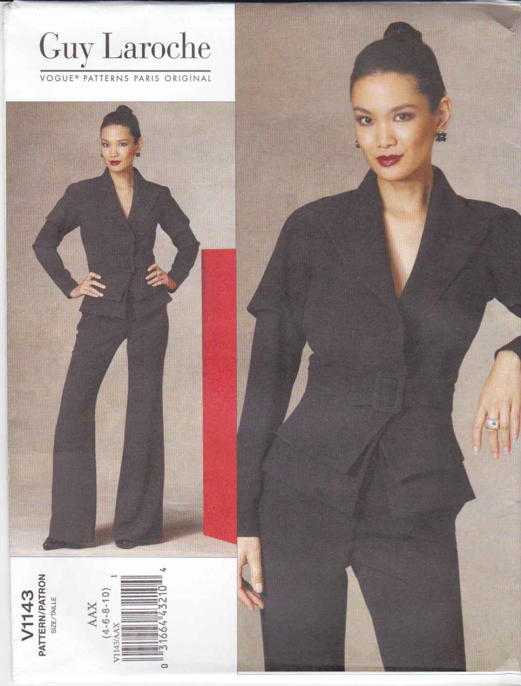 Vogue Sewing Pattern 1143 Misses Sizes 4-10 Guy Laroche Lined Long Sleeve Jacket Pants