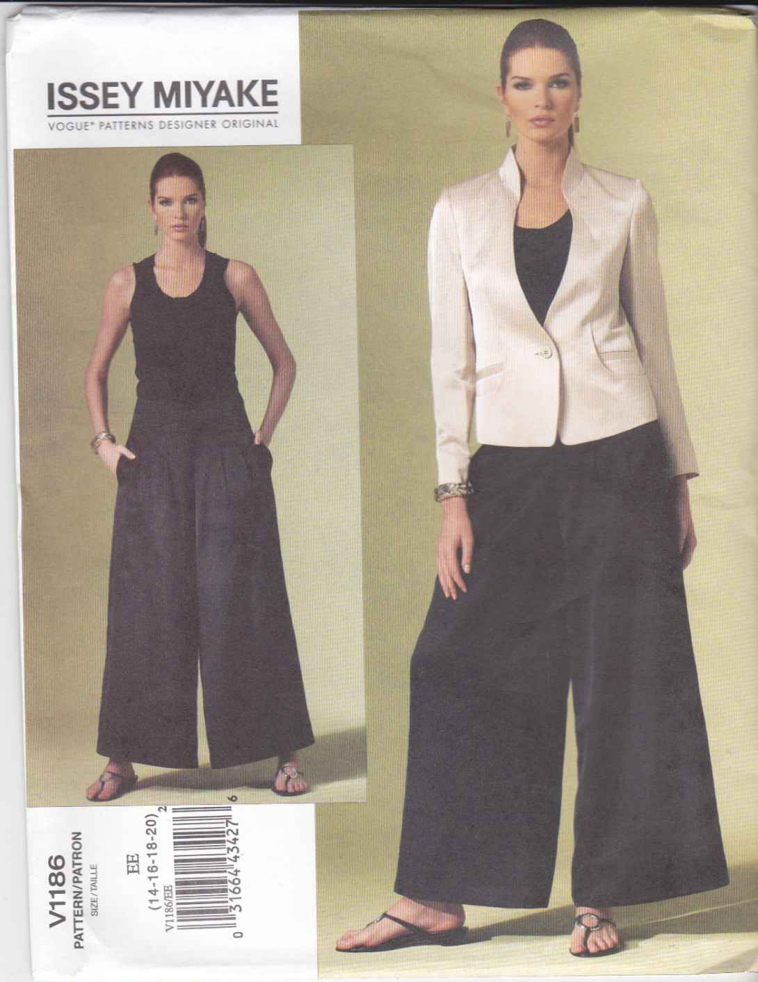 Vogue Sewing Pattern 1186 V1186 Misses Size 14-20 Issey Miyake Lined Jacket Flared Pants