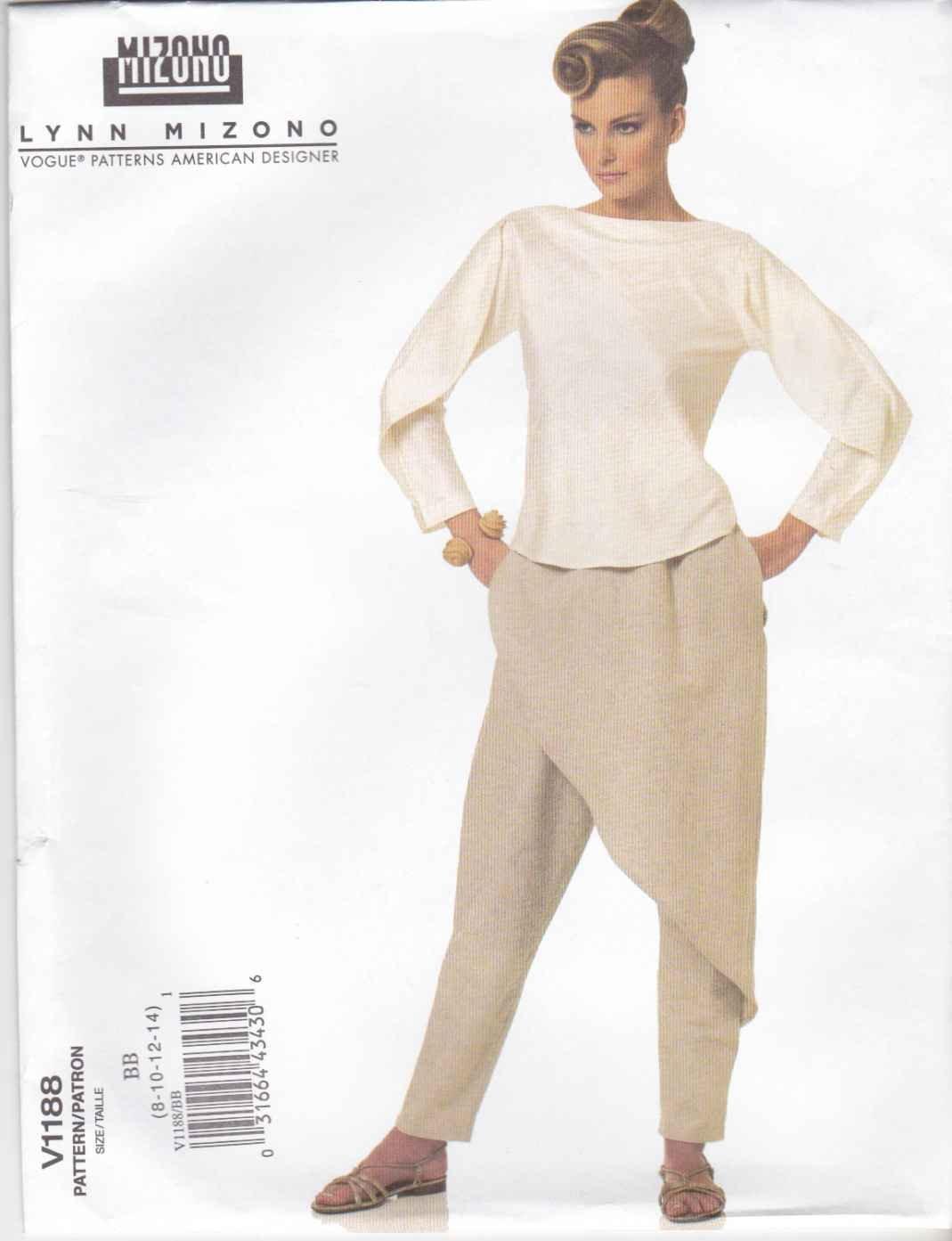 Vogue Sewing Pattern 1188 Misses Size 8-14 Lynn Mizono Easy Bias Top Pants Front Back Drape