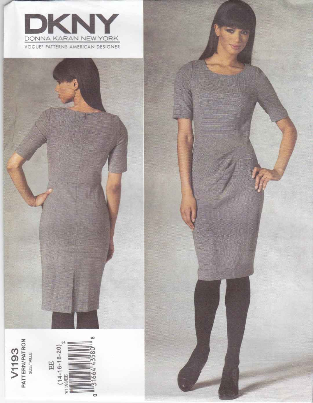 Vogue Sewing Pattern 1193 V1193 Misses Size 14-20 DKNY Easy Close-Fitting Short Sleeve Dress