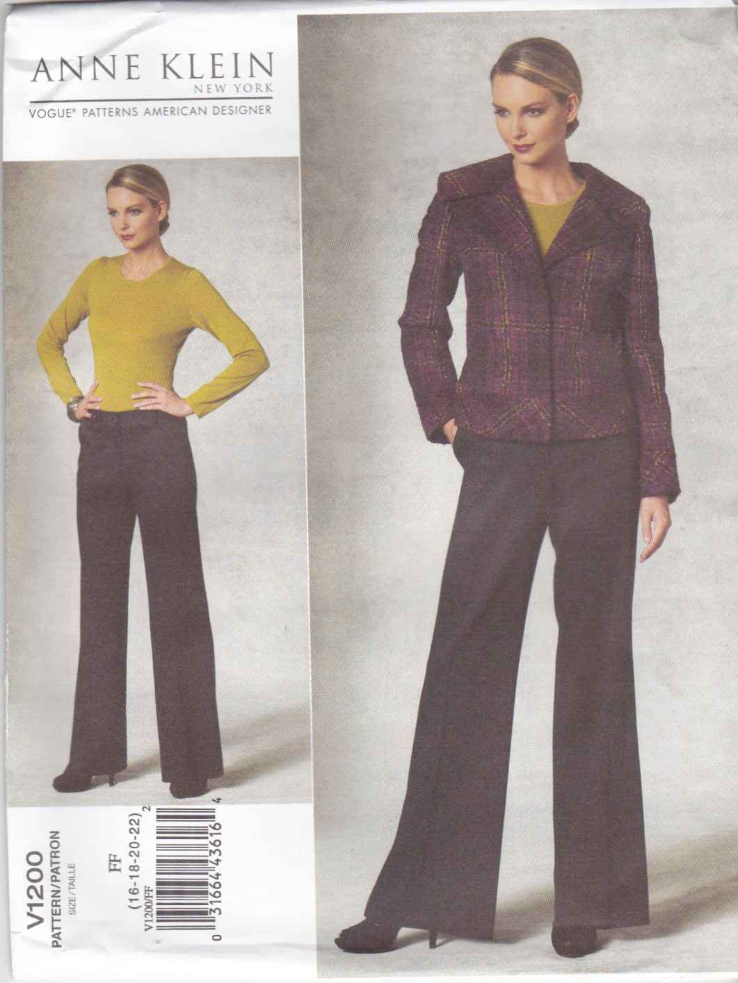 Vogue Sewing Pattern 1200 V1200 Misses Size 16-22 Anne Klein Lined Long Sleeve Jacket Fitted Pants