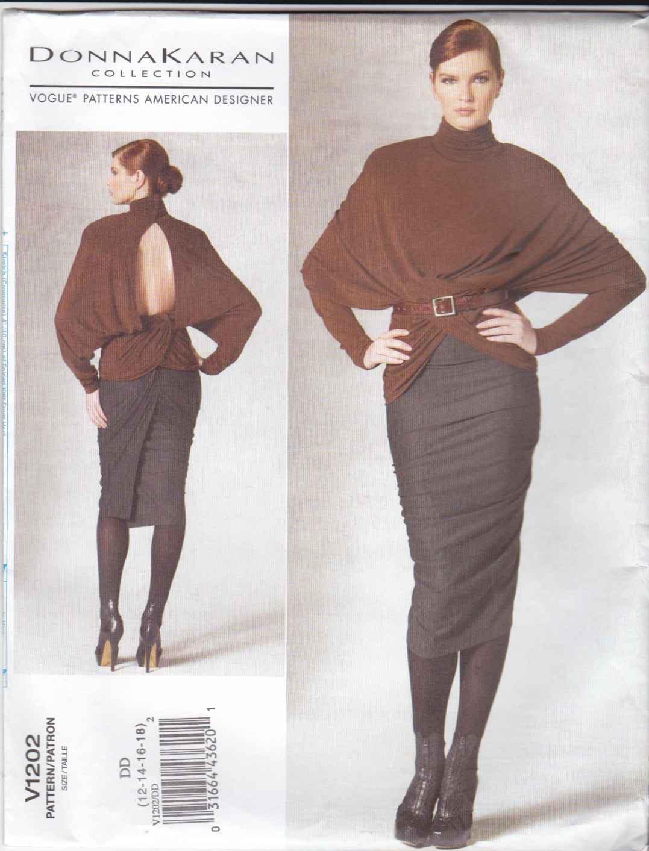 Vogue Sewing Pattern 1202 V1202 Misses Size 12-18 Donna Karan Knit Pullover Top Lined Tapered Skirt