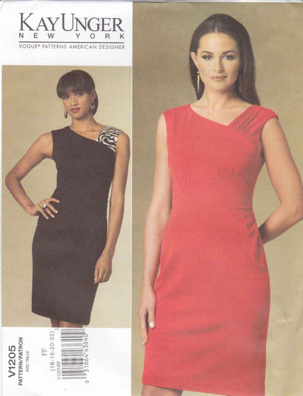 Vogue Sewing Pattern 1205 V1205Misses Size 16-22 Kay Unger Easy Knit Lined Straight Dress