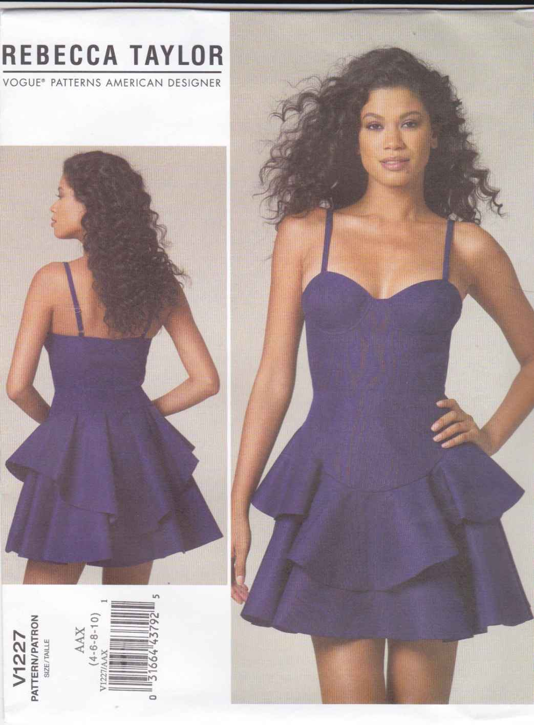 Vogue Sewing Pattern 1227 V1227 Misses Size 4-10 Rebecca Taylor Fitted Bodice Flared Skirt Dress