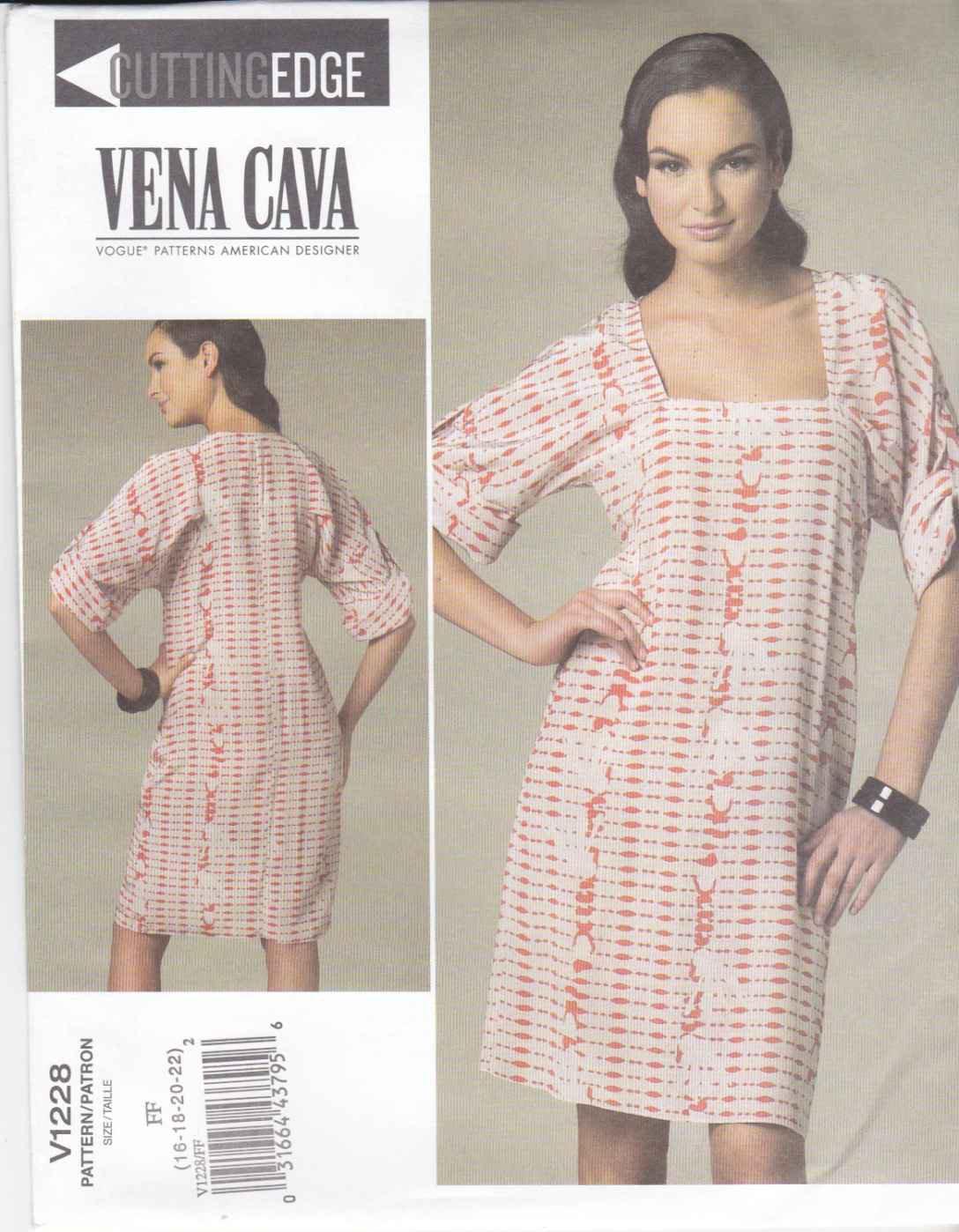 Vogue Sewing Pattern 1228 V1228 Misses Size 8-14 Easy Vena Cava Pullover Dress Kimono Sleeves