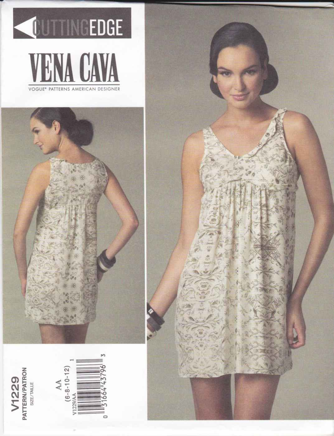 Vogue Sewing Pattern 1229 V1229 Misses Size 14-20 Easy Vena Cava Pullover A-Line Sleeveless Dress