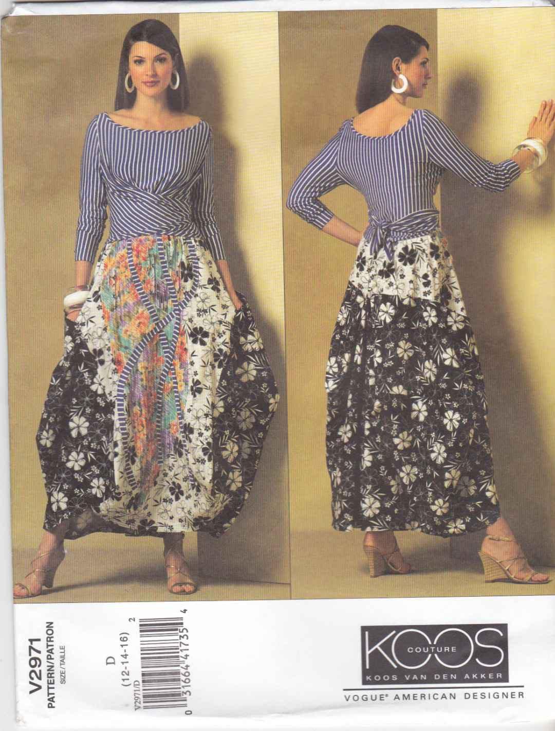 Vogue Sewing Pattern 2971 Misses Size 18-22 Koos Van Den Akker Knit Top Flared Contrast Skirt