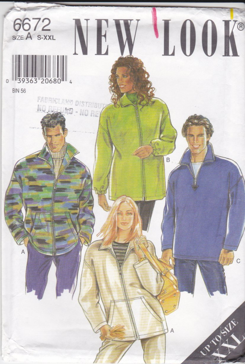 New Look Sewing Pattern 6672 Mens Misses Unisex Size S-XXL Pullover Zipper Front Jacket