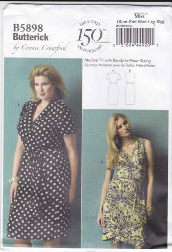 Butterick Sewing Pattern 5898 Misses Sizes 3-16 Connie Crawford Classic Wrap Front Dress