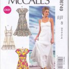 McCall's Sewing Pattern 6749 Misses Sizes 6-14 Easy Lined Full Skirt Dress Hem Ruffle