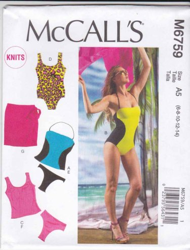 McCall's Sewing Pattern 6759 Misses Sizes 14-22 Swimsuit Bathing Suit Maillot Two Piece Cover-up