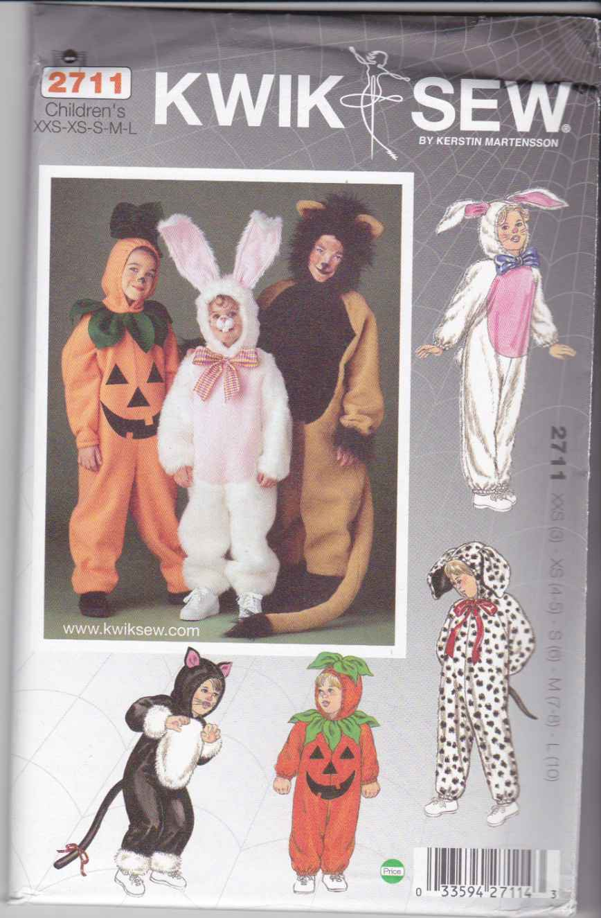 Kwik Sew Sewing Pattern 2711 Boys Girls Sizes 3-10 Costumes Cat Bunny Dog Pumpkin