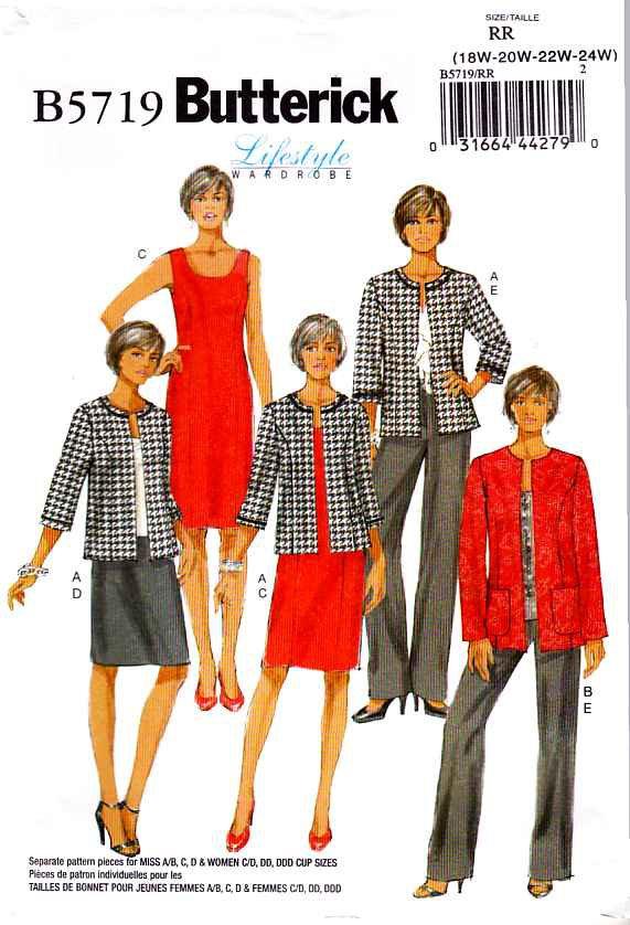 Butterick Sewing Pattern 5719 Misses Size 8-16 Easy Wardrobe Dress Jacket Pants
