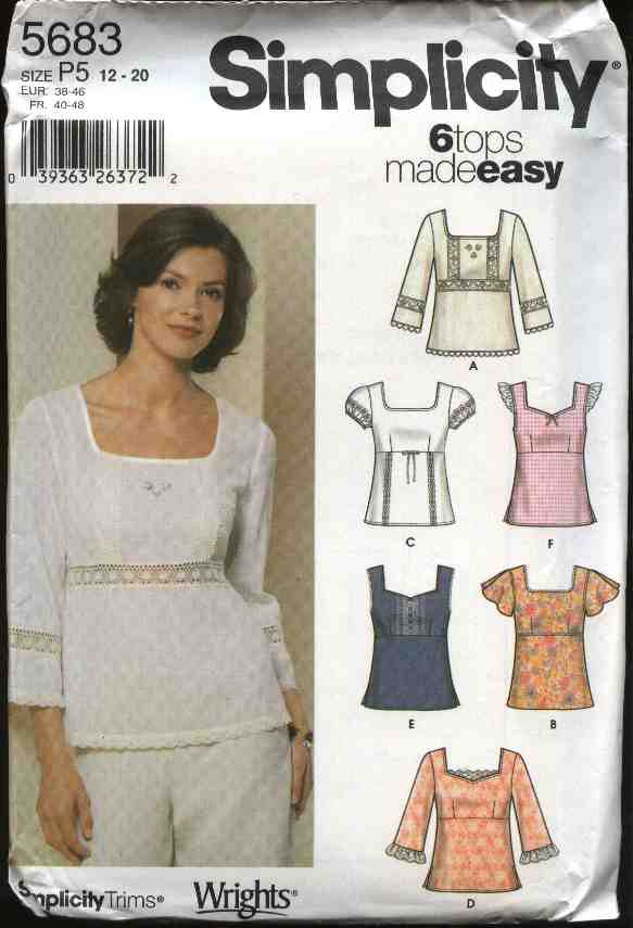 Simplicity Sewing Pattern 5683 Misses Size 4-10 Easy Pullover Empire Waist Summer Tops