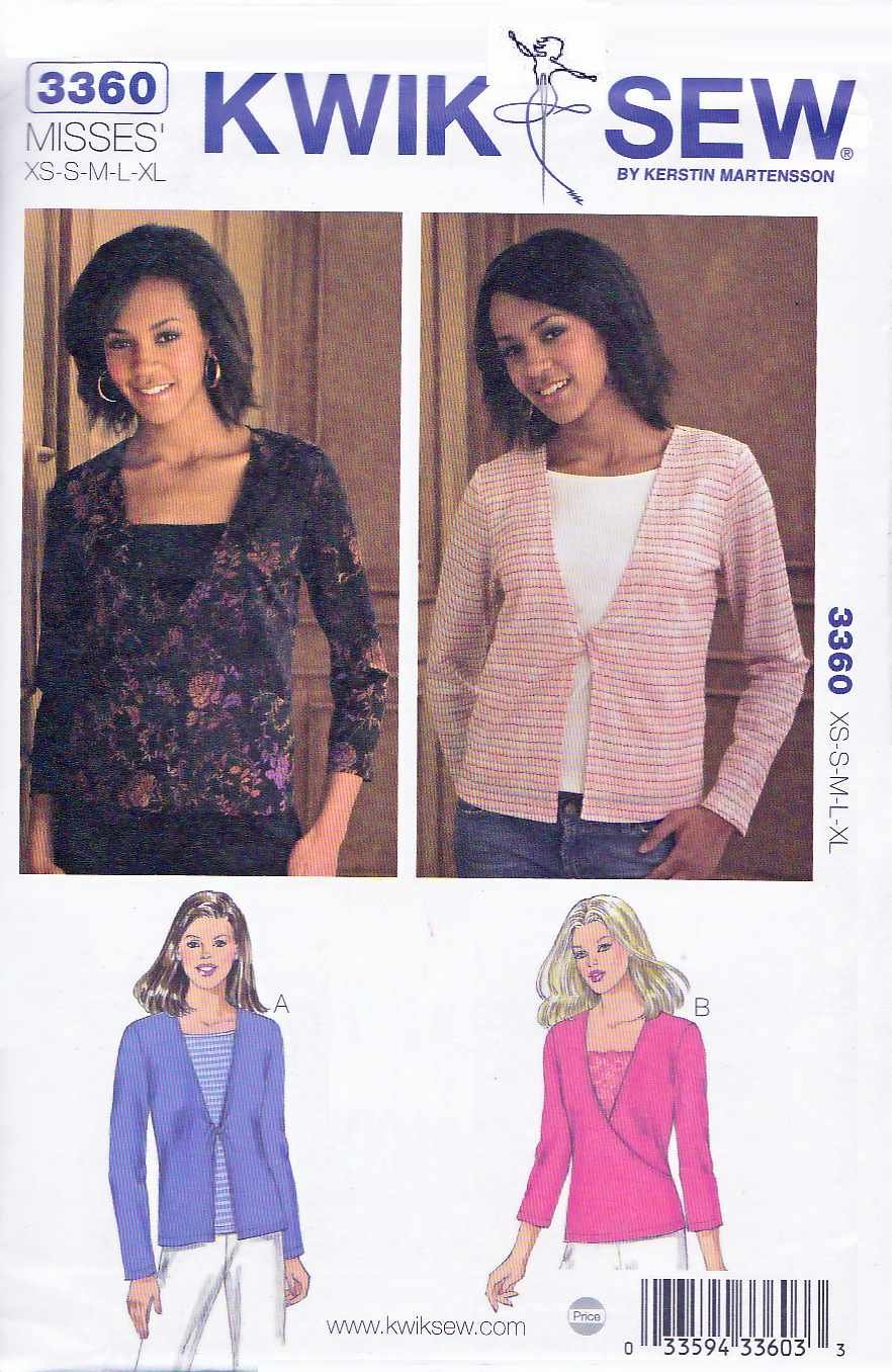 Kwik Sew Sewing Pattern 3360 Misses Size XS-XL (approx. 8-22) Knit Pullover Tops