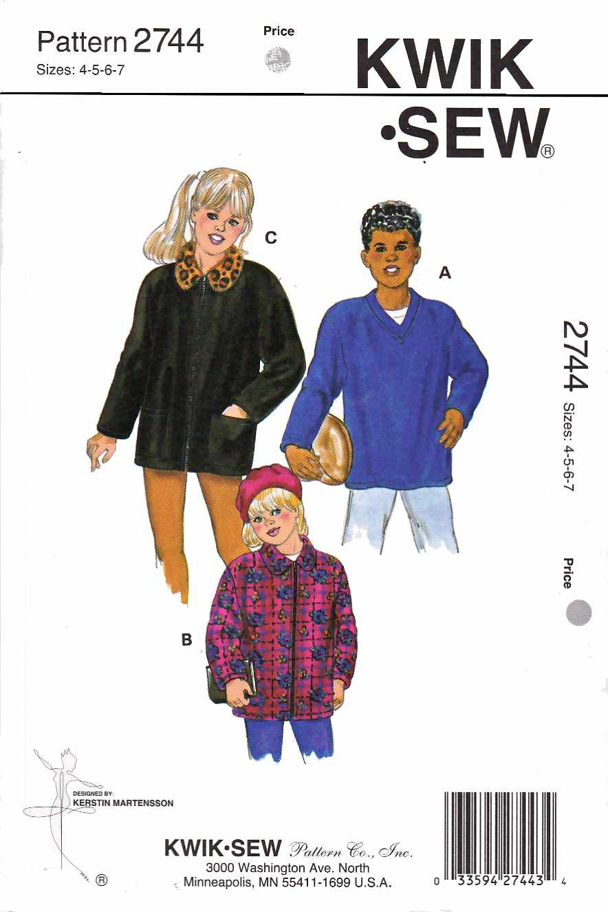 Kwik Sew Sewing Pattern 2744 Girls' & Boys Size 4-7 Shirt-Jacket Pullover Zipper Front